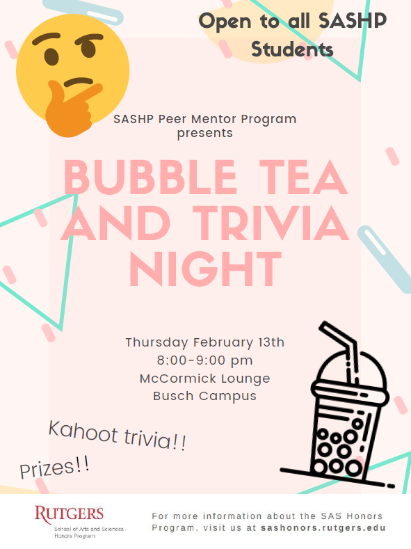 Bubble Tea & Trivia Night Flyer