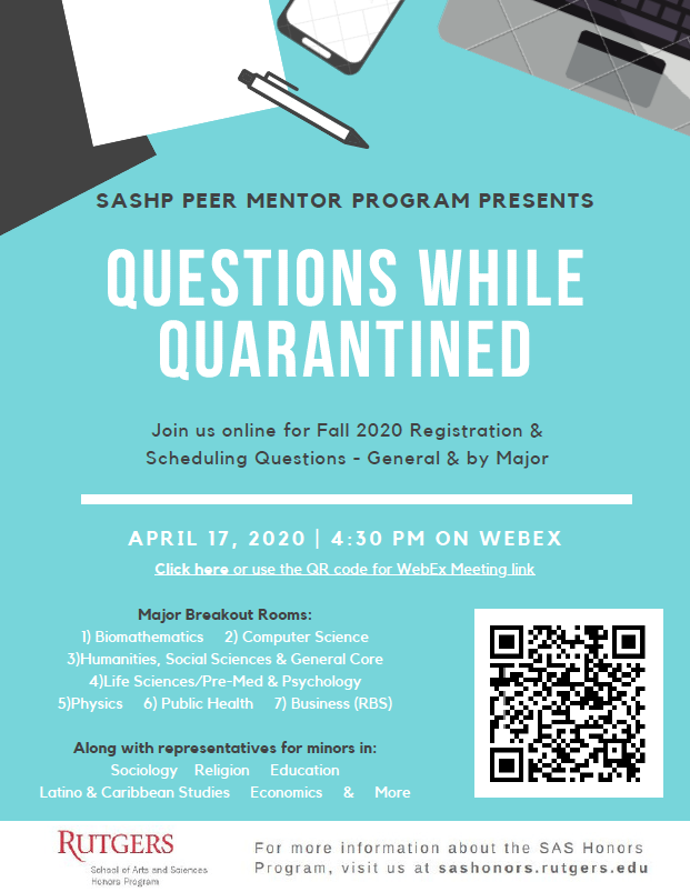 Questions While Quarantined Flyer (Click for link to WebEx Meeting)